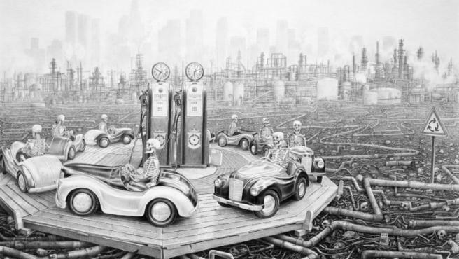 Alienación, humor negro y alegoría medioambiental en uno de los dibujos de Lipton