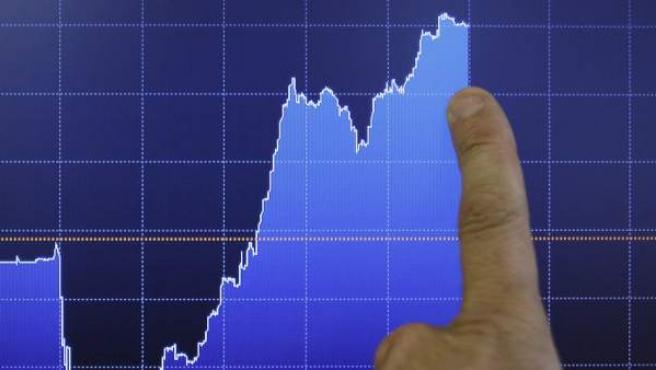 Pantalla que muestra la evolución de la prima de riesgo española.