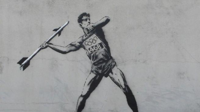 Una de las obras de Banksy sobre Londres 2012