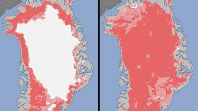 Dos imágenes de Groenlandia que muestran el rápido deshielo sin precedentes que este verano ha experimentado la isla. A la derecha se observa desde el satélite que el 40 % de la capa de hielo se había derretido el 8 de julio. Cuatro días más tarde, se aprecia que el 97 % de la superficie helada ha desaparecido.