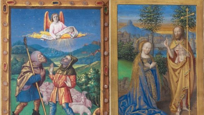 """A la izquierda, """"La Anunciación a los pastores"""", de Georges Trubert, siglo XV. A la derecha, """"Noli me tangere"""", datado en torno a 1500"""