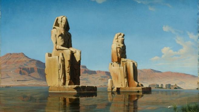 Hubert Sattler ilustra en 1846 a los Colosos de Memnón durante la inundación anual frente a la ciudad egipcia de Luxor