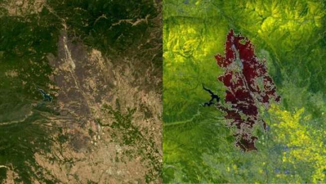 El satélite Deimos-1 capta imágenes del incendio de la Junquera (Gerona)