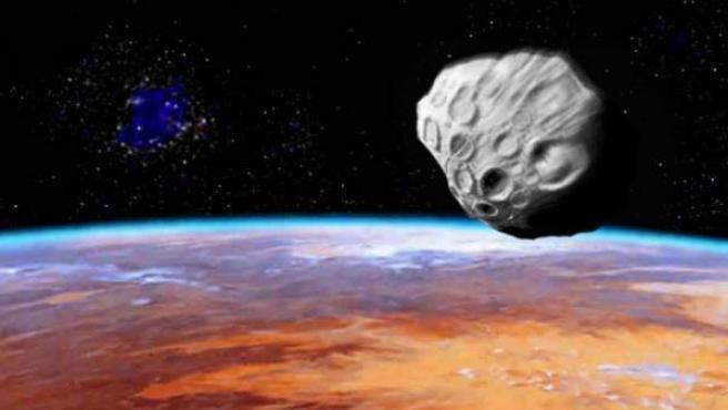 Recreación de un asteroide aproximándose a la Tierra.