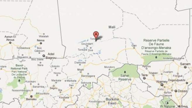 Mapa de situación de Tombuctú y de Gao.