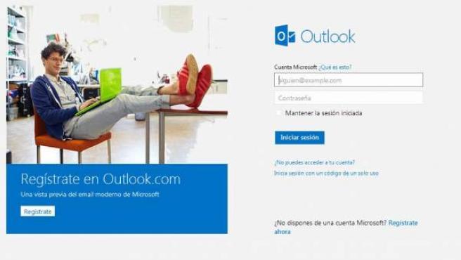 Una imagen de la página principal de Outlook.com.