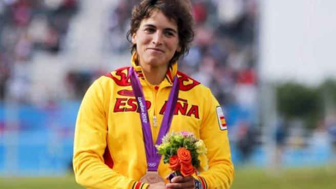 Maialen Chourraut, tras lograr el bronce en los Juegos de Londres.