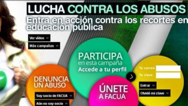 Imagen de la página web de Facua donde aparece una de las campañas a las que se refiere el Ministerio de Sanidad, que tiene por lema 'Lucha contra los abusos'.