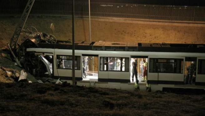 Estado en el que quedó el convoy accidentado en las cocheras de Loranca.