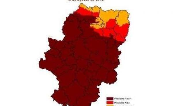 Mapa de la alerta de incendios