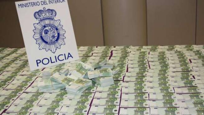 Incautación de dinero falsopor las policías española y búlgara
