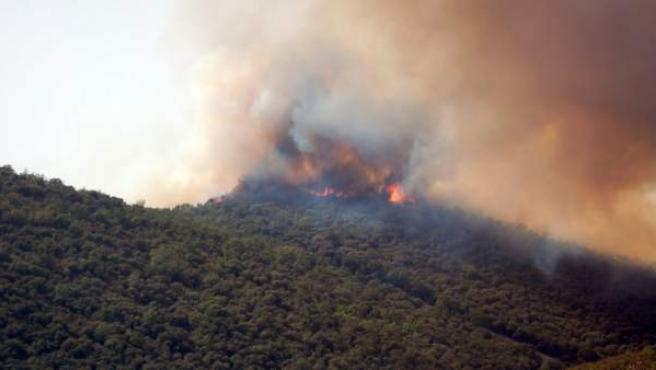 Incendio que afecta al Parque Nacional de Cabañeros, declarado el sábado en el término municipal de Navas de Estena (Ciudad Real), por el que se ha decretado el nivel 2 de alerta.