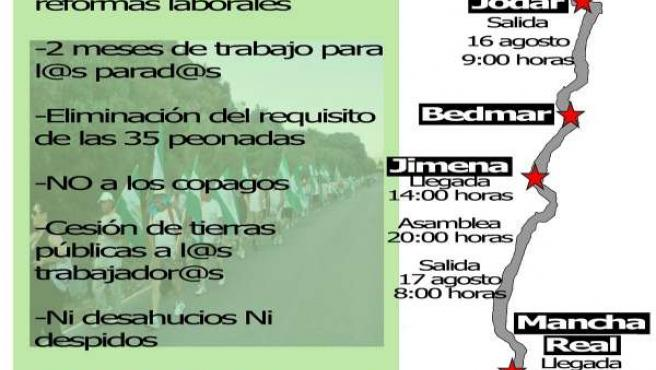 Cartel de la primera marcha obrera del SAT en Jaén