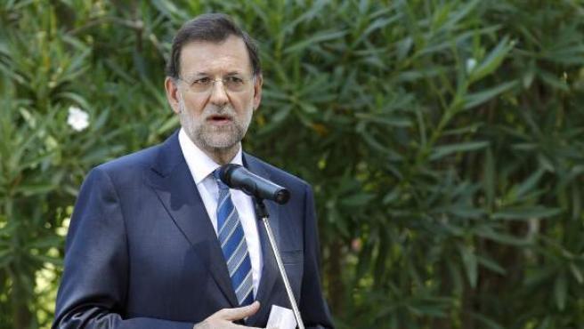 Mariano Rajoy, durante la rueda de prensa que ofreció tras el despacho en Mallorca con el rey.