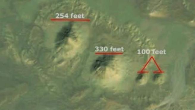 Los montículos que la arqueóloga Angela Micol asegura que pueden ser antiguas pirámides.