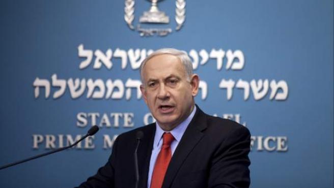 El primer ministro de Israel, Benjamin Netanyahu, ofrece una rueda de prensa en su oficina de Jerusalén.