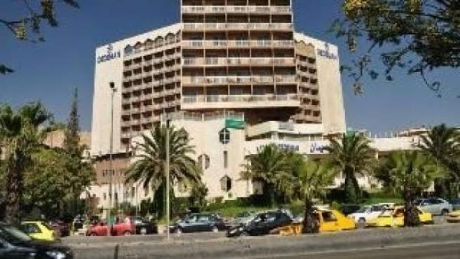 Una imagen del Hotel Dame Rose de Damasco, cerca del cual ocurrió la explosión.