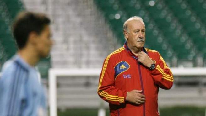 El técnico de la selección de fútbol de España, Vicente Del Bosque, da instrucciones a sus jugadores en un entrenamiento.
