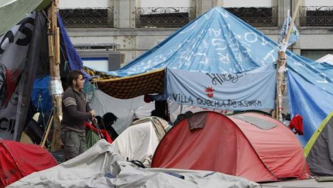 Imagen de 'Villa Quechua', el sector de la acampada Sol que abogó por la permanencia en la plaza.