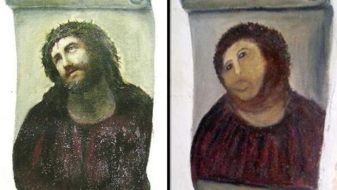 """El fresco del Ecce Homo antes y después de la """"restauración"""" de Cecilia Giménez."""