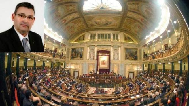 Foto del diputado del PP Guillermo Collarte con el Congreso de los Diputados.