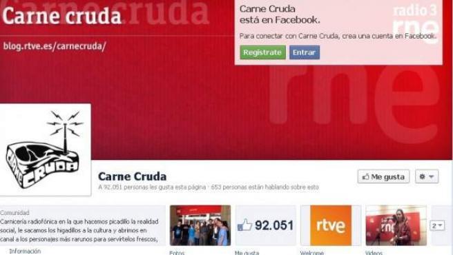 Facebook del programa 'Carne Cruda'.