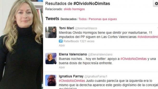 Imagen de la concejala de Los Yébenes (Toledo), Olvido Hormigos, y las reacciones de apoyo que la publicación de un video erótico suyo ha provocado en Twitter.