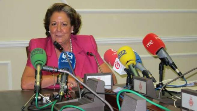 Rita Barberá durante la rueda de prensa
