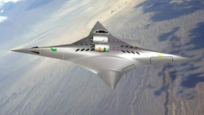 El avión diseñado por Ge-Cheng Zha alcanza velocidades supersónicas gracias a su forma simétrica por los dos ejes, que se asemeja a una estrella ninja.