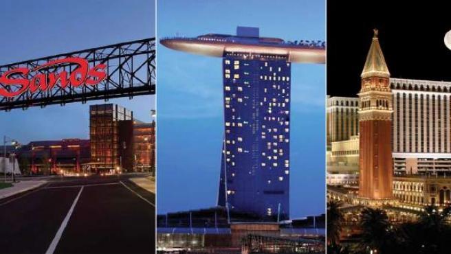 De iz a dcha: los complejos que Adelson tiene en Bethlehen, Singapur, Nevada y Macao.