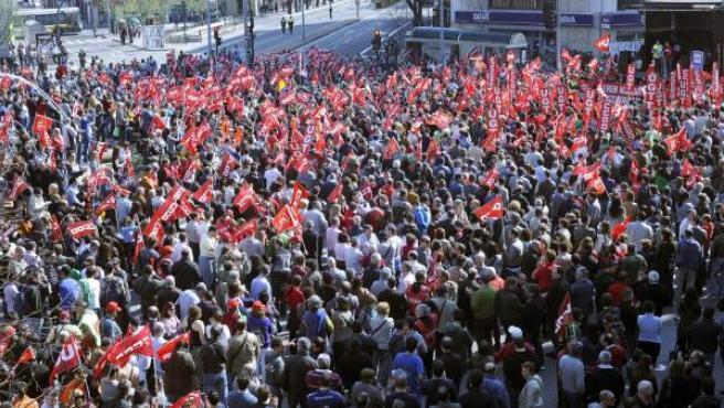 Manifestación en Pamplona con motivo de la huelga general del 29-M.