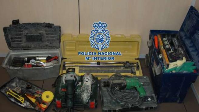Efectos Incautados En El Robo En Una Furgoneta En Castellón.