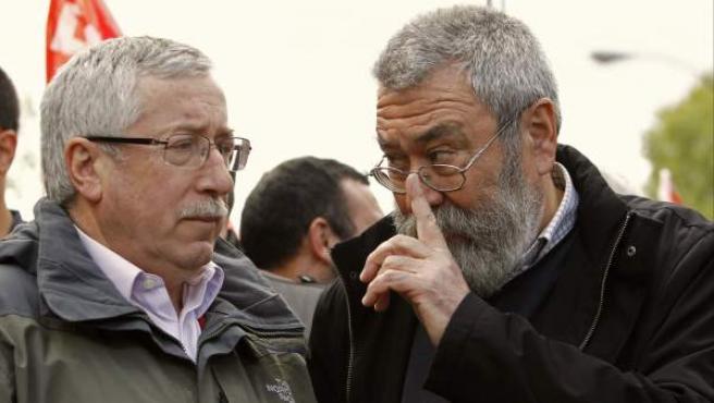 Los líderes sindicales Ignacio Fernández Toxo (CC OO) y Cándido Méndez (UGT).
