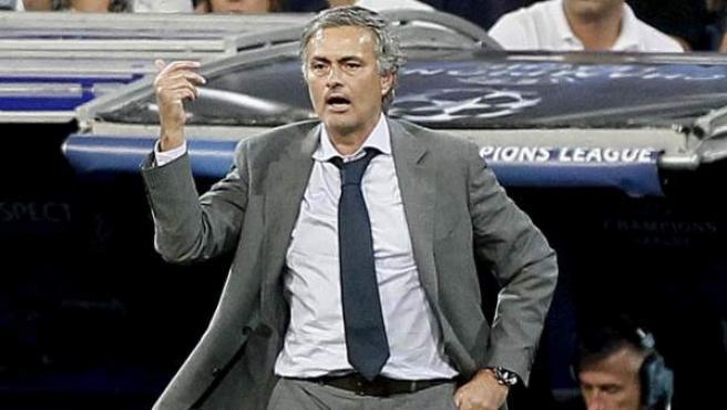 José Mourinho, entrenador del Real Madrid, en el partido ante el Manchester City.