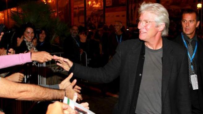 Richard Gere, a su llegada al Festival Internacional de Cine de San Sebastián.