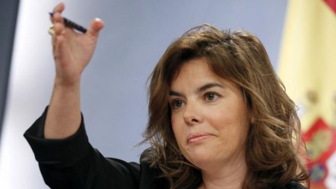 Soraya Sáenz de Santamaría, durante una rueda de prensa.