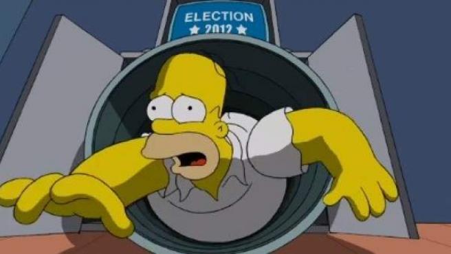 Homer Simpson, durante la votación en las elecciones 2012.