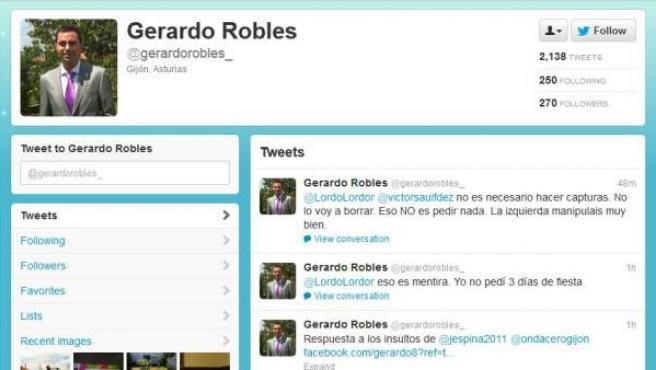 Perfil de Twitter de Gerardo Robles, el asesor de Foro que ha dimitido.