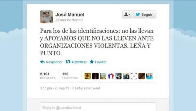 """Imagen de la cuenta de Twitter de José Manuel Sánchez Fornet, criticado por su defensa de que los policías no lleven identificación en las manifestaciones, defendiendo que se actúe con """"leña y punto""""."""