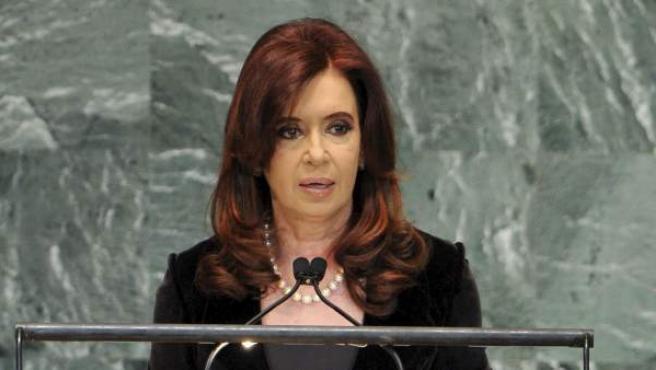 La presidenta de Argentina, Cristina Fernández de Kirchner, durante su intervención Asamblea General de Naciones Unidas, en su sede de Nueva York.
