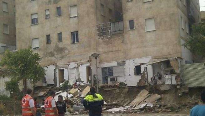 Imagen del edificio afectado en Lorca