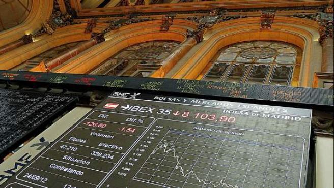La pantalla de la Bolsa de Madrid, que refleja la cotización del Ibex-35.