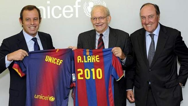 El presidente del FC Barcelona, Sandro Rosell, durante un acto en Nueva York con Unicef.