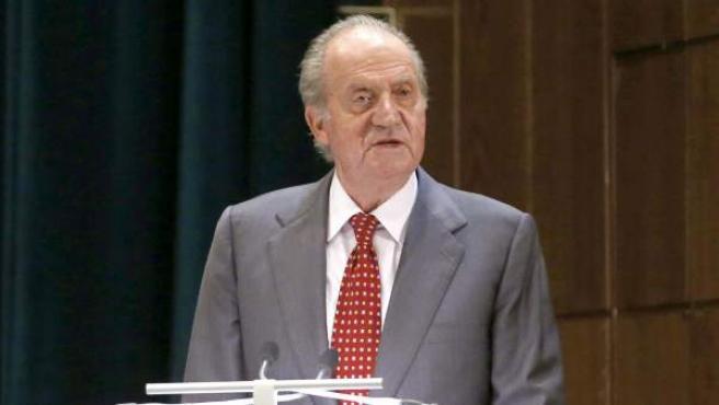 El rey Juan Carlos, durante un discurso.