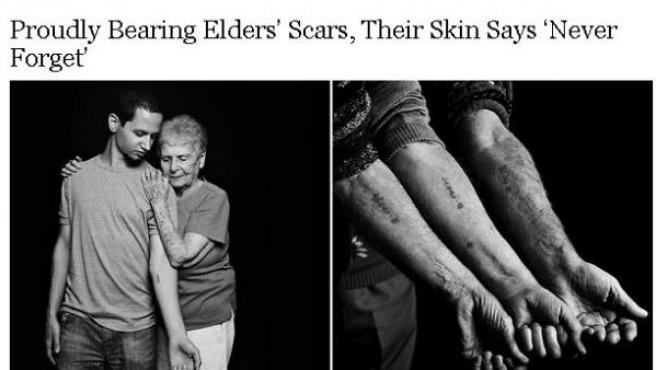 Reportaje del NYT sobre los tatuajes que los jóvenes judíos se ponen para honrar a sus mayores, presos en Auschwitz.