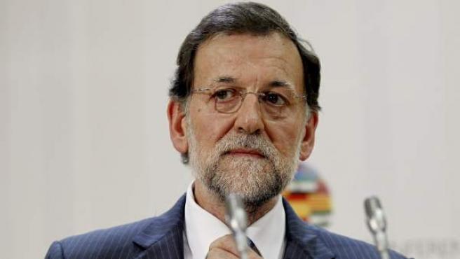 El presidente del Gobierno, Mariano Rajoy, durante la rueda de prensa que ha ofrecido tras la V Conferencia de Presidente.