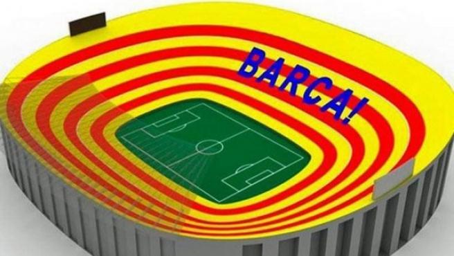 Así lucierá el Camp Nou en el clásico.