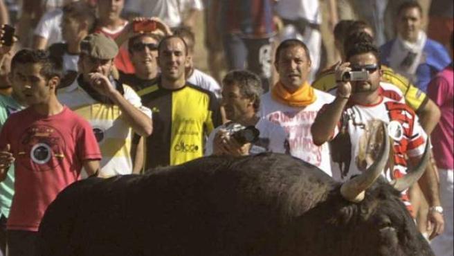 Fotografía del torneo del Toro de la Vega celebrado en Tordesillas (Valladolid).