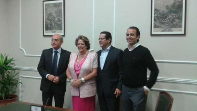 Barberá junto a Novo, Bellver y el que será nuevo edil Alberto Mendoza