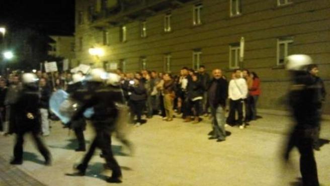 Despliegue policial por movilización en Ferrol en la pegada.